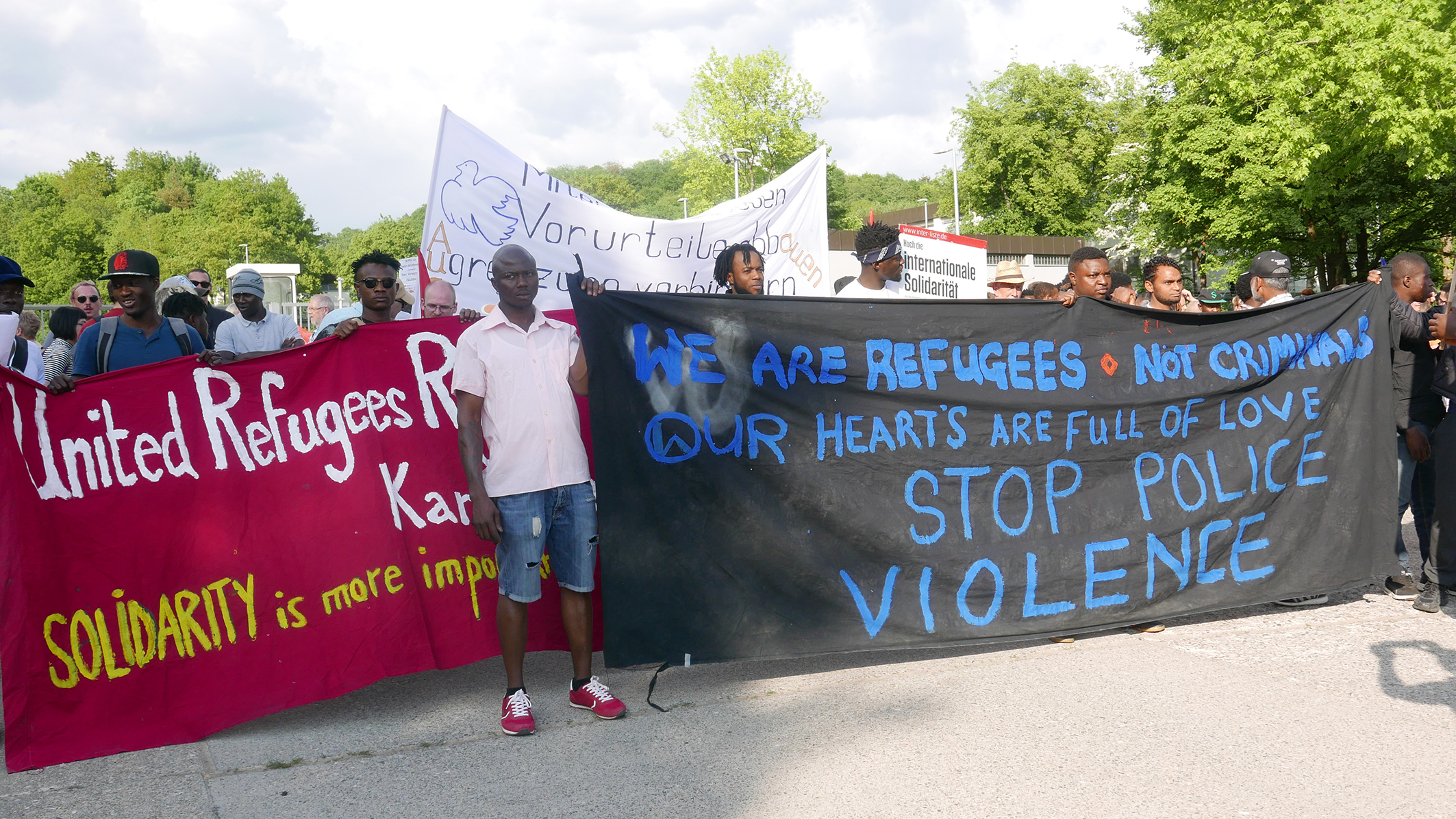 Refugee demonstration in front of the LEA Ellwangen on 9 May 2018, shortly after the massive police raid of 3 May 2018.